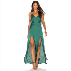 CAPULET REVOLVE Gina Side Tie Satin Slit Dress